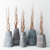 Branches in concrete vases / Branch concrete vase
