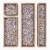 Multi-colored pebble forms / Color pebble form