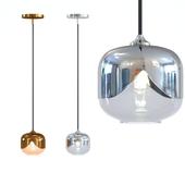 Set Hanging Lamp Golden & Chrome Goblet