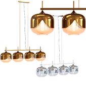 Set Hanging Lamp Golden & Chrome Goblet Quattro