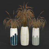 Striped Tall Vase with Gray Stripes