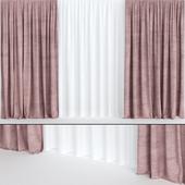 Бордовые шторы из бархата с тюлем