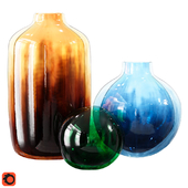 Modern Murano Vase Glass Set