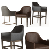 MORGAN CURVED-BACK TRACK LEATHER ARMCHAIR