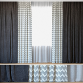 Curtains 39 | Curtains with Tulle | Reilly Grey Chevron and Ovington Grey