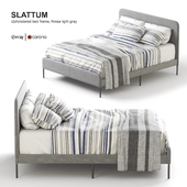 Ikea SLATTUM Upholstered bed frame, Knisa light gray.