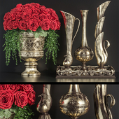 Decoration Set 23 Red Roses in antique vases.