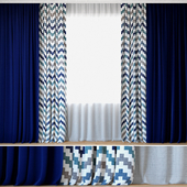 Curtains 58 | Curtains with Tulle | DIHIN HOME | Wavy Stripes Printed (На перезаливку)