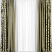Green curtains with tulle