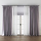 Draped Back Tab Silk Curtains with Tulle and Roman Shade