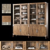 CAYDEN CAMPAIGN 4-DOOR GLASS SIDEBOARD & HUTCH