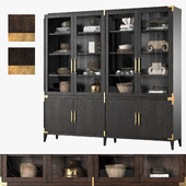 CAYDEN CAMPAIGN 4-DOOR GLASS SIDEBOARD & HUTCH (Dark)