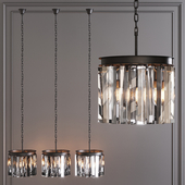 Restoration Hardware 1920S ODEON RHYS CLEAR GLASS PRISM ROUND CHANDELIER 12 Black