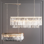 Restoration Hardware 1920S ODEON CLEAR GLASS FRINGE RECTANGULAR CHANDELIER 40 Nickel