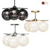 West Elm Sphere and Stem Flushmount collection 3 light Chandelier Chrome, Gold, Bronze