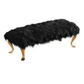 Bench Black Mongolian Lamb Wool