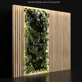 Wooden planks and vertical garden