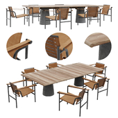Cassina LC1 Outdoor chair and Dine Out table