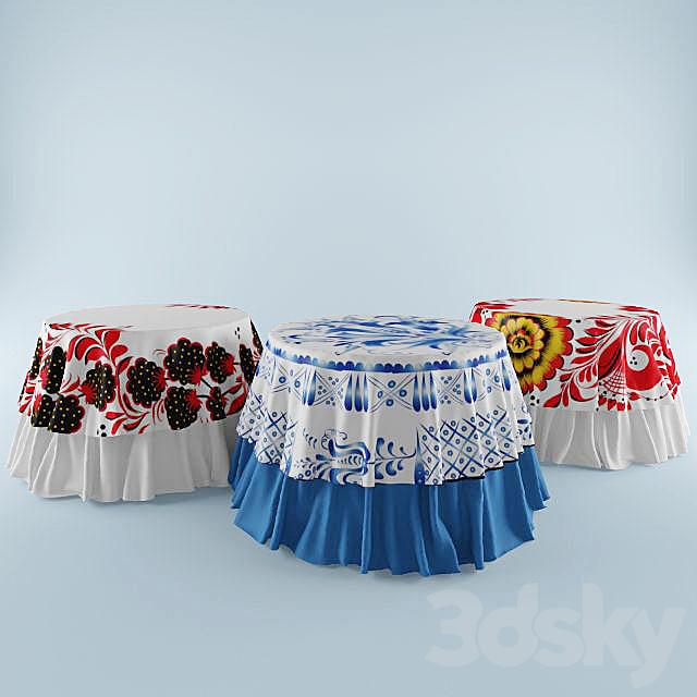 Russian Gzhel tablecloth patterns, hohlomy