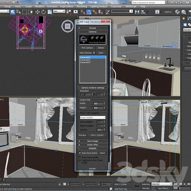 Script rendering with multiple cameras
