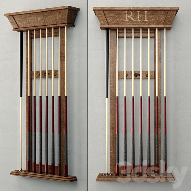 RH / BRUNSWICK VINTAGE 1906 BILLIARDS TABLE CUE RACK