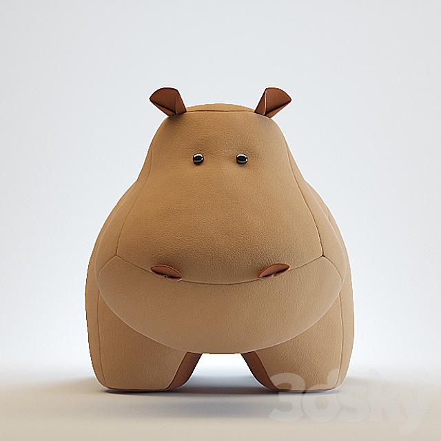 Toy hippopotamus made of felt