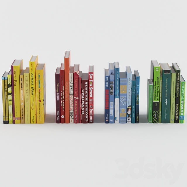 Books divided by color
