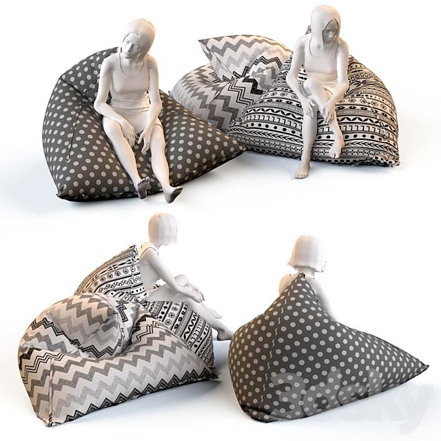 Triangular chair cushions with mannequins