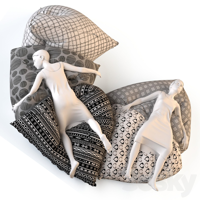 Triangular seat cushions lying mannequins