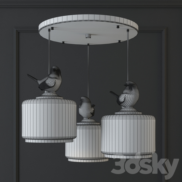 SUSPENSION LIGHT PROVENCE BIRD PENDANT CIRCLE 3