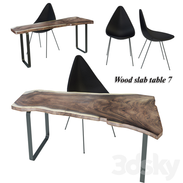 Wood slab table set 7