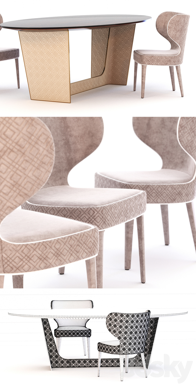 Wings table and chair of Aida factory RUGIANO
