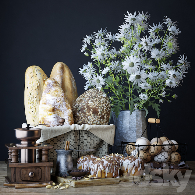 Kitchen set with bread and cinnapons