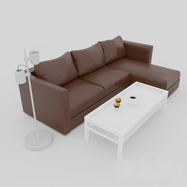 3d models: Sofa - ikea vimle leather sofa