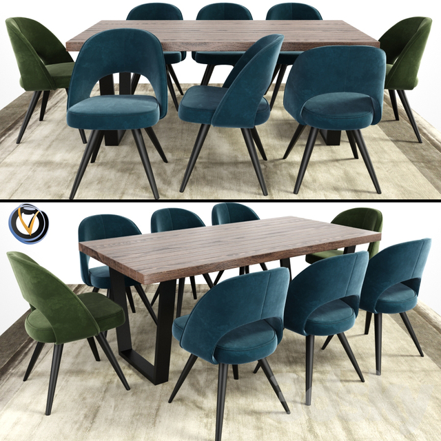 3d Models Table Chair Modrest Gloria And Calia Dining Table With Carpet
