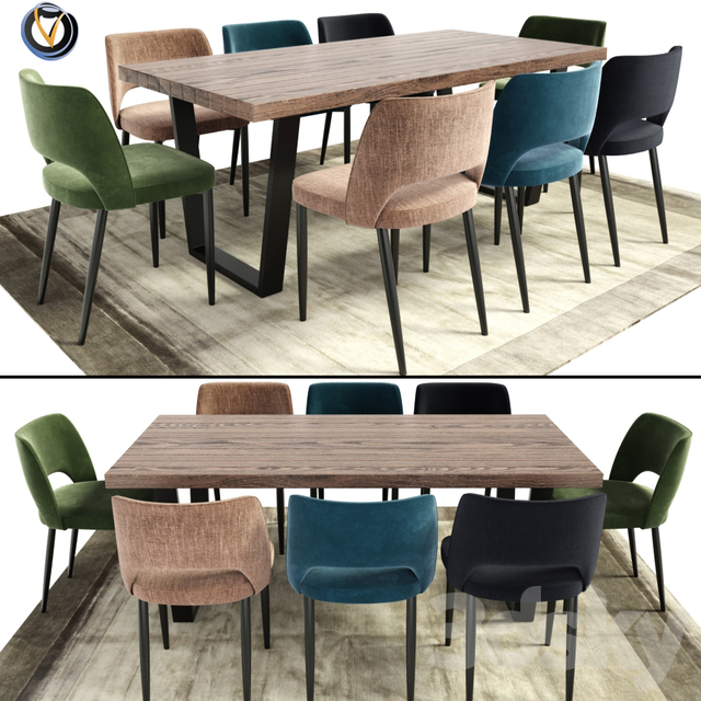 3d Models Table Chair Calia Dining Table Chair With Rug