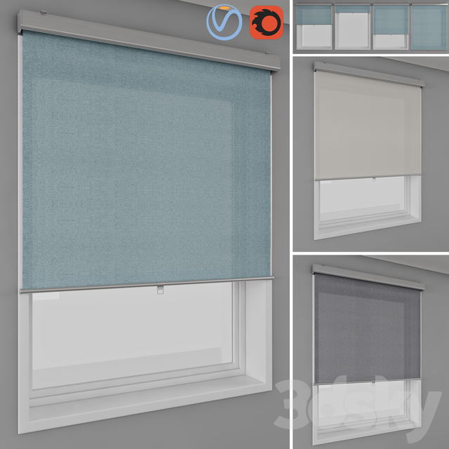 Kitchen Blinds Ikea >> 3d Models Curtain Roller Blinds Ikea Tretur And Window
