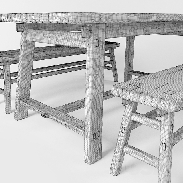 A table and a bench in the style of country. Table and bench in rustic style