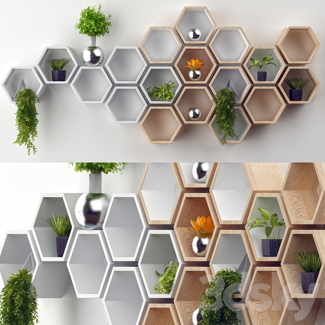 Rustic White Hexagon Wall Shelf in Solid Oak