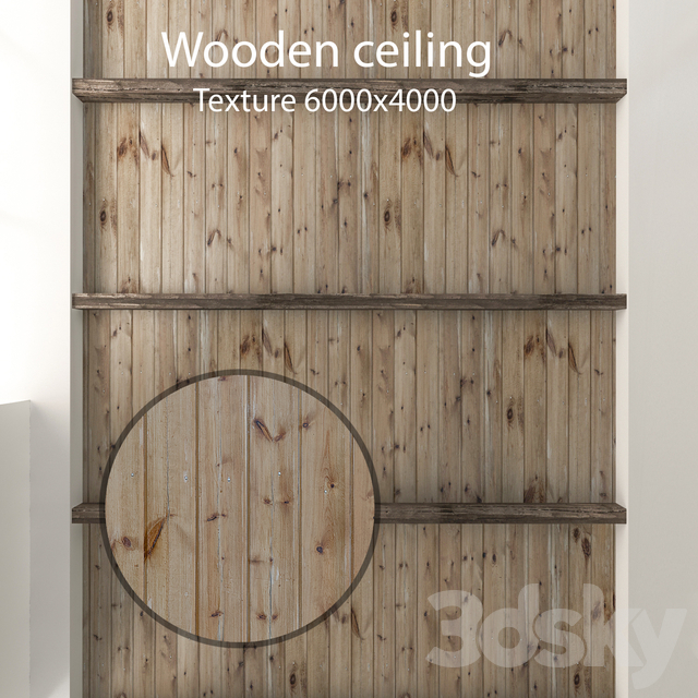 Wooden ceiling with beams 01
