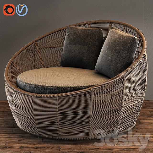 TAMARIN Round Gray Resin Wicker Garden Armchair