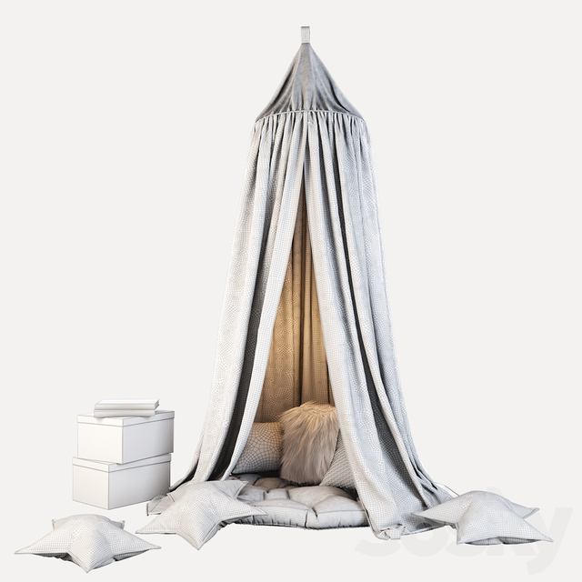 Children's canopy and decor in shades of gray
