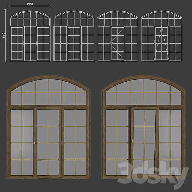 Wood - aluminum windows, type 04 part 02, set 10 (For refilling)