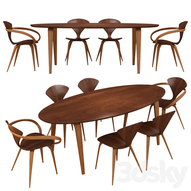 Norman Cherner Pretzel Dining Table