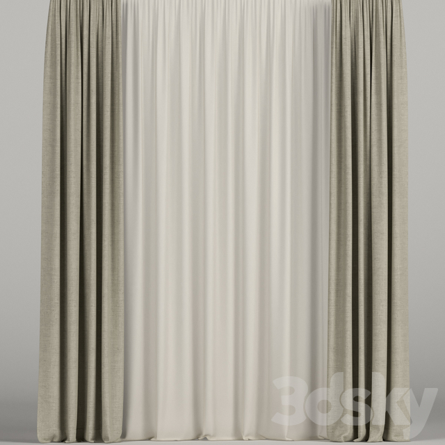 Beige curtains with beige tulle.