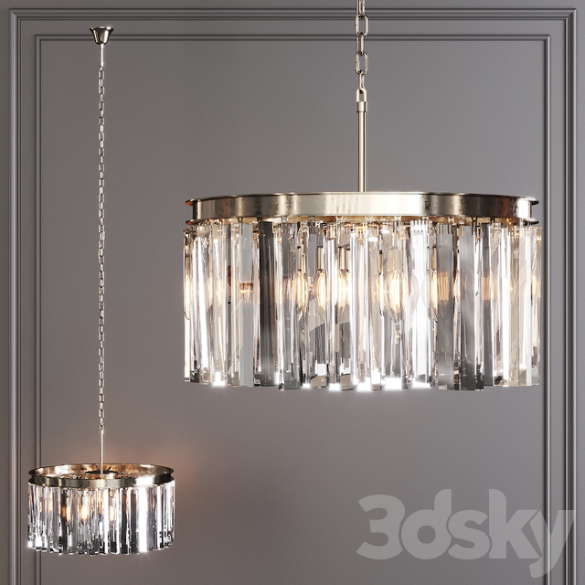 Restoration Hardware 1920S ODEON RHYS CLEAR GLASS PRISM ROUND CHANDELIER 20 Nickel