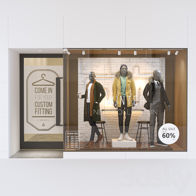 Shop front with male mannequin