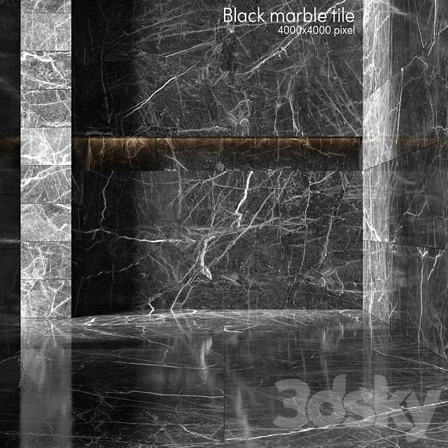 Black marble tiles