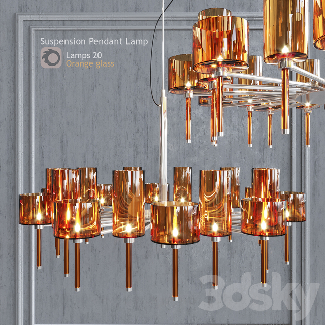 Chandelier AXO Light Spillray lamps 20 orange glass