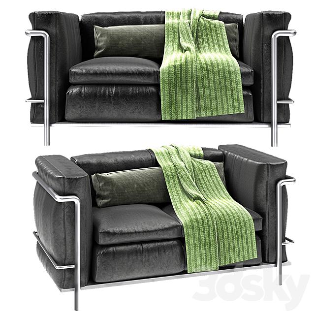 Le Corbusier Modern Black Leather Sofa